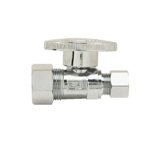 Brass Craft PlumbShop® 1/2 x 3/8 in. Nom Compression x OD Compression Quarter Turn Handle Straight Supply Stop Valve in Chrome Plated BPLB200XP