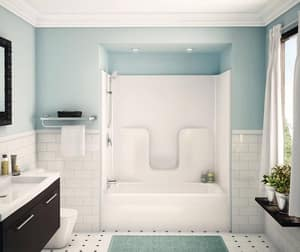 Aker Plastics 60 x 33 in. Tub and Shower with Right Hand Drain in Biscuit A141000000007002