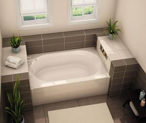 Aker Plastics 60 x 41 in. Soaker Alcove Bathtub Right Drain in Biscuit A141355000007502