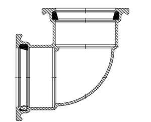 Harrington Corporation 2 in. IPS Fusion Bonded Epoxy Ductile Iron 90 Degree Bend H80120DF