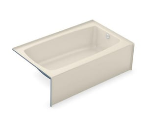 Aker Plastics 60 x 37 in. Fiberglass, Resin and Gelcoat Rectangle Alcove Bathtub with Right Drain in Bone A141360002004502