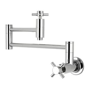 Harrington Brass Works Victorian™ Palace 1-Hole Wall Mount Pot Filler with Double Cross Handle in Polished Chrome H2021734