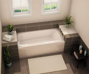 Aker Plastics 60 x 33 in. Fiberglass, Resin and Gelcoat Rectangle Alcove Bathtub with Left Drain in White A141358002501