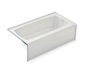 Aker Plastics 60 x 33 in. Fiberglass, Resin and Gelcoat Rectangle Alcove Bathtub with Right Drain in White A141351000502