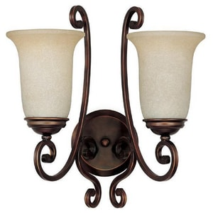 Capital Lighting Fixture Cumberland 2-Light Wall Sconce in Burnished Bronze with Mist Scavo Glass Shade C1762BB251