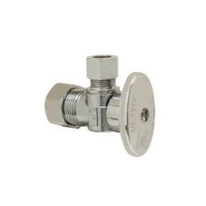 Brass Craft PlumbShop® 1/2 x 3/8 in. Nom Compression x OD Compression Quarter Turn Handle Angle Supply Stop Valve in Chrome Plated BPLB100XP