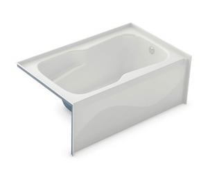 Aker Plastics 60 x 32-1/2 in. Fiberglass Alcove Reinforced Rectangle Bathtub with Left Drain in White A141079000002001