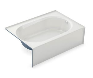 Aker Plastics 60 x 42 in. Fiberglass, Resin and Gelcoat Rectangle Alcove Bathtub with Right Drain in White A141362002502