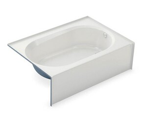 Aker Plastics 60 x 42 in. Fiberglass, Resin and Gelcoat Rectangle Alcove Bathtub with Right Drain in White A141355000502