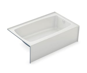 Aker Plastics 60 x 37 in. Fiberglass, Resin and Gelcoat Rectangle Alcove Bathtub with Right Drain in White A141360002502