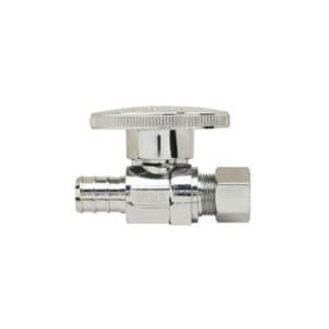 Brass Craft PlumbShop® 1/2 x 3/8 in. Nom Crimp Barbed x OD Compression Quarter Turn Handle Straight Supply Stop Valve in Chrome Plated BPLB204XP