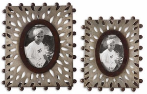 Uttermost Company Nanala 13 x 10-3/4 in. Photo Frame in Antique Silver Leaf, Mahogany and Brown Set of 2 U18502
