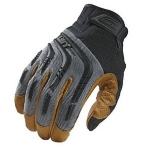 Lift Safety M Size Genuine Leather Anti-Vibe Tacker Gloves in Grey and Tan LGTA9YM