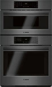 BSH Home Appliances Corporation 800 Series 29-3/4 in. 5 cf Double Convection Wall Mount Electric Speed Combo Oven in Black Stainless BHBL8743UC