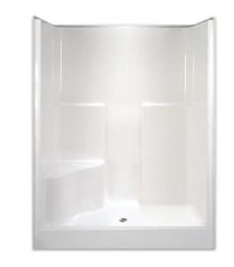 Aquarius Industries Luxury 60 x 36-1/2 in. Gelcoat Shower with Left Hand Seat and Towel Bar in White AG6077SH1SLWHTTB
