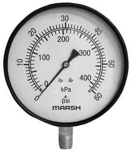 Marshalltown Instrument 60 psi Lower Mount Pressure Gauge MJ46