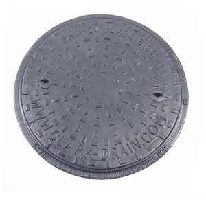 Olympic Foundry 7 in. Cast Iron Manhole Cover Sanitary Sewer O146043