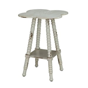 Crestview Collection Traditional 26 x 18 in. Clover Shaped Accent Table in White CCVFZR1485
