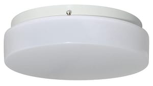 Liteco Contemporary 13W 11 in. 1-Light LED Outdoor Ceiling Fixture in White LFD311LE800WWW