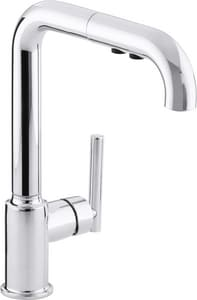 KOHLER Purist® Single Handle Pull Out Kitchen Faucet with Three-Function Spray in Polished Chrome K7505-CP