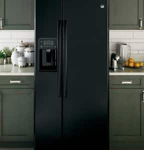 GE Appliances 69-1/2 x 32-3/4 in. 23.2 cf Freestanding Side-By-Side Refrigerator in High Gloss Black GGSS23GGKBB