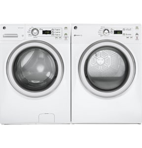 GE Appliances 39-9/29 x 27 x 32-3/16 in. 24A 7 cf Electric 120V Front Load Dryer in White GGFV40ESCMWW