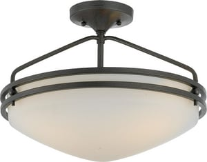 Quoizel 16-1/2 in. 3-Light Semi-Flushmount Ceiling Fixture in Iron Gate QOZ1716IN
