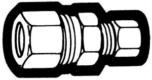 Holyoke Fittings 3/8 x 1/4 in. Compression Standard Nut Reducing Straight Brass Union H62R64