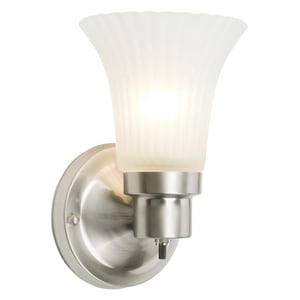 Design House The Village 60W 1-Light Wall Sconce in Satin Nickel D504977