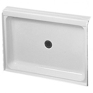 Fiat Products ADAF 6036 63-1/2 x 38-1/2 in. Gelcoat Fiberglass Shower Base with Centre Drain in White FADAF6036100