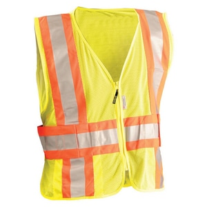 Occunomix L Size 2-Tone Classic Mesh Safety Vest Expandable in Yellow OLUXSC2TZML