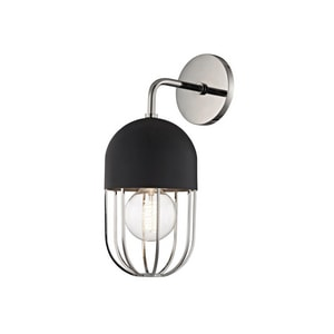 Hudson Valley Lighting Haley 60W 1-Light Medium E-26 Incandescent Wall Sconce in Polished Nickel with Black HUDH145101PNBK