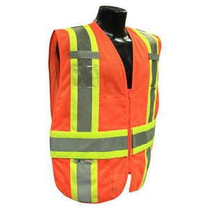 Radians Class 2 3X - 5X Size Class-2 2-Tone Polyester Mesh Safety Vest with Chevron Back in Hi-Viz Orange RSV23C2VOM3X5X at Pollardwater