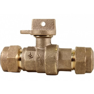 A.Y. McDonald 1 in. CTS Compression Brass Water Service Ball Curb Stop M76100WQG