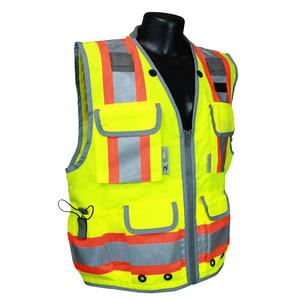 Radians L Size Polyester Class 2 2-Tone Safety Vest Heavy Woven in Hi-Viz Green RSV552ZGDL