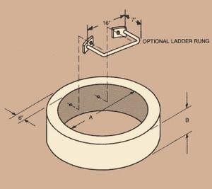 B & B Septic Tanks & Precast 48 x 1 in. Concrete Manhole Riser B07001