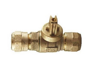 Cambridge Brass 3/4 x 3/4 in. Compression Brass Curb Stop C283NLH3H3