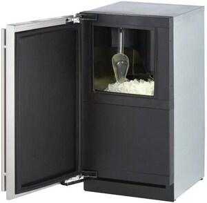 U-Line 17-3/4 in. 30 lbs. Built-In Left Hand Custom Panel Ice Maker in Stainless Steel UU3018CLROL01