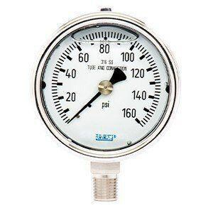 WIKA 2-1/2 x 1/4 in. 160 psi Stainless Steel Lower Mount Pressure Gauge W52545644