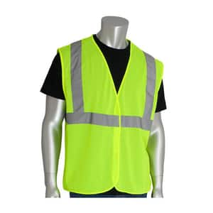 Protective Industrial Products L Size Safety Vest with Zipper P302MVGZLYL