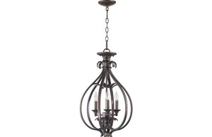 Quorum International Randolph 3-Light Entry Chandelier in Oiled Bronze Q6794386