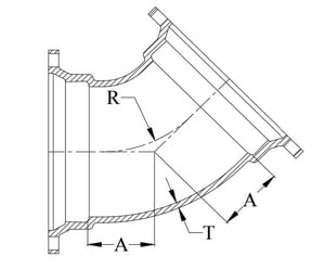 Tyler Union 30 in. Mechanical Joint Ductile Iron C153 Short Body 22-1/2 Degree Bend DMJ2LA30ZN