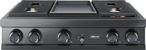 Dacor Modernist 36 in. 22000 BTU Sealed 4-Burner Electric and Gas Cooktop in Graphite Stainless Steel DDTT36M974LM