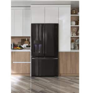 General Electric Appliances Profile™ Series 35-3/4 x 69-7/8 in. 22.2 cf Counter Depth French Door Refrigerator in Black Stainless GPYD22KBLTS