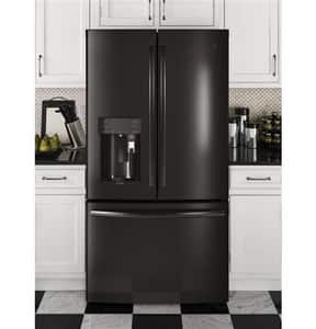 General Electric Appliances Profile™ Series 35-3/4 x 69-7/8 in. 27.9 cf Freestanding French Door Refrigerator with Left and Right Hinge in Black Stainless GPFE28PBLTS
