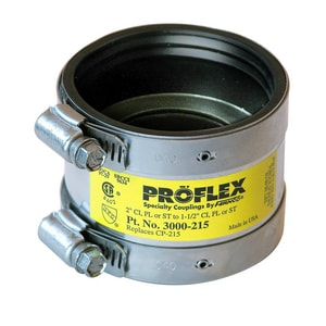 Fernco Proflex® 2 x 1-1/2 in. Cast Iron x Plastic and Steel Flexible Coupling F3000215
