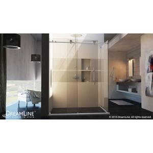 DreamLine Enigma-X 76 x 34-1/2 in. Frameless Sliding Shower Door in Brushed Stainless Steel DSHEN613448007