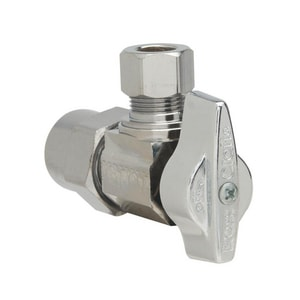 Brass Craft KTPR19 Series 1/2 in x 3/8 in Ball Handle Angle Supply Stop Valve in Polished Chrome BKTPR19XC1