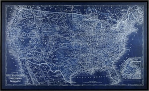 Picture Source Somerset 37 x 61 in. US Map Blueprint Wall Frame S17966289B