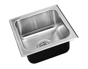 Just Manufacturing Stylist Group 25 x 22 in. 1-Hole 1-Bowl 304 and 18-8 Self-Rimming or Drop-In Kitchen Sink with Center Drain in Stainless Steel JSLADA2225A16DCC